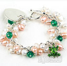 7.5 inches pink white pearl and crystal bracelet with heart charm