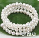 6-9mm natural white pearl 3 strand bracelet