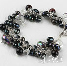7.5 inches black pearl and crystal bracelet with extendable chain