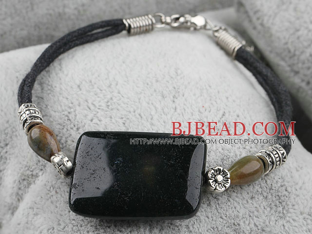 7 inches extendable indian agate bracelet with lobster clasp