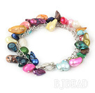 dyed colorful  pearl and shell bracelet with toggle clasp