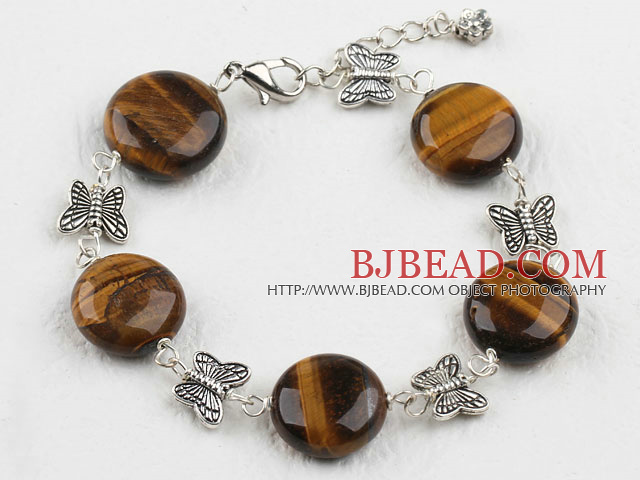 14mm tiger's eye tibet silver beaded bracelet with lobster clasp