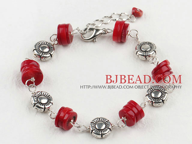 7 inches dyed red coral bracelet with extendable chain