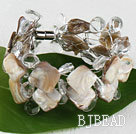white crystal and shell bracelet with magnetic clasp