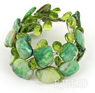 green crystal and shell bracelet with magnetic clasp
