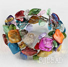 multi color crystal and shell bracelet with magnetic clasp