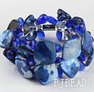 blue crystal and shell bracelet with magnetic clasp under $ 40