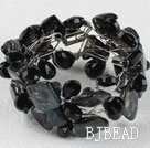 black drop crystal and shell bracelet with magnetic clasp