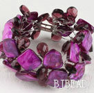 purple crystal and shell bracelet with magnetic clasp