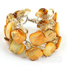 yellow crystal and shell bracelet with magnetic clasp