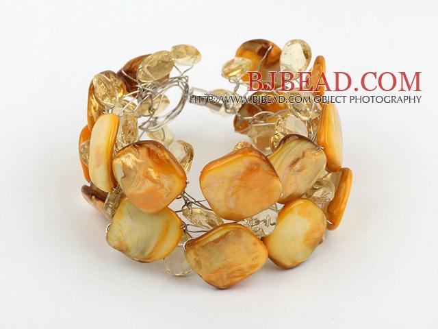 Cristal amarillo y brazalete de concha con cierre magn tico for Pandora jewelry amarillo tx