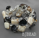 clear crystal black and brown shell bracelet with magnetic clasp