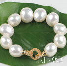high quality egg shape white sea shell beads bracelet with gold plated clasp under $30