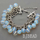 White Series 10mm Round Opal Crystal Bracelet with Metal Chain under $ 40