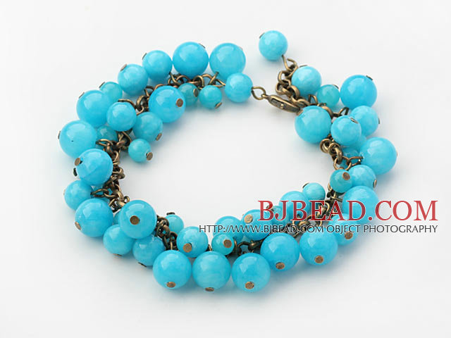 Round Blue Candy Jade Bracelet with Metal Chain