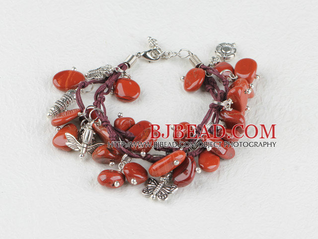 red jasper and butterfly charm bracelet with extendable chain