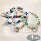 Fashion Style White with Colorful Colored Glaze Charm Bracelet under $ 40