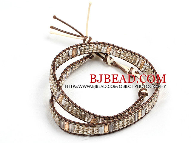 Fashion Style Champagne Crystal Beads Wrap Bangle Bracelet