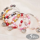 5 pcs Nice Single Strand Multi Color Baroque Freshwater Pearl Bracelet with Tibet Silver Accessory