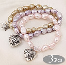 3 pcs Beautiful Dyed Multi Color Baroque Freshwater Pearl Bracelet with Nice Accessory