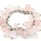 Pink Series Assorted Rose Quartz Bracelet with Bold Style Metal Chain under $ 40
