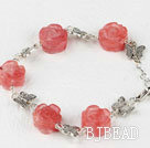 cherry quartze carved flower tibet silver butterfly bracelet with extendable chain