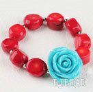 7.5 inches elastic red coral turquoise flower bracelet