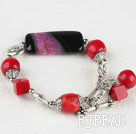 red coral and agate bracelet with lovely toggle clasp