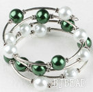 7.5 inches green and white 12mm shell beads bangle wrap bracelet under $4