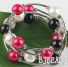 7.5 inches three color 12mm shell beads bangle wrap bracelet under $4