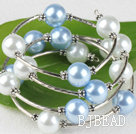 7.5 inches light blue and white 12mm shell beads bangle wrap bracelet