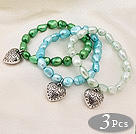 3 pcs Beautiful Multi Color Baroque Freshwater Pearl Bracelet with Heart Accessory