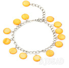 11mm light yellow round shell bracelet with extendable chain