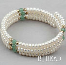 White Freshwater Pearl and Aventurine Wrap Bangle Bracelet