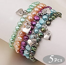 clear crystal and opal bracelet with toggle clasp