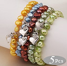 5 pcs Nice Single Strand Patato Shape Dyed Multi Color Pearl Bracelet with Heart Accessory