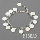 11mm white round shell bracelet with extendable chain