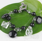 7.5 inches clear crystal and black agate bracelet with toggle clasp