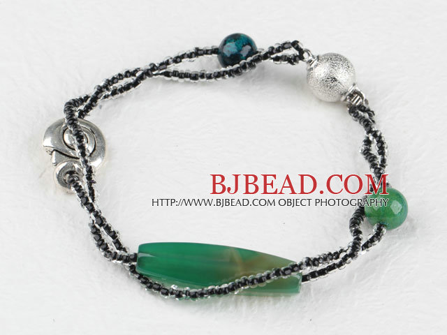 7.5 inches agate and tibet silver charm bracelet