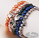 5 pcs Nice Single Strand Patato Shape Multi Color Pearl Bracelet with Heart Accessory