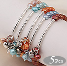 5 pcs Cute Patato Shape Multi Color Pearl Elastic Bracelets with Tibet Silver Tube and Heart Accessory