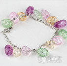7.5 inches multi color burst pattern crystal bracelet with extendable chain