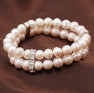 7.5 inches white teeth pearl and crystal bracelet