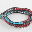 Turquoise and coral and gray manmade crystal wrap bracelet under $12