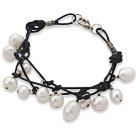 7.5 inches handmade white fresh water pearl bracelet