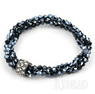 elastic style 7.5 inches three strand crystal bracelet with rhinestone