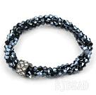elastic style 7.5 inches three strand crystal bracelet with rhinestone under $ 40