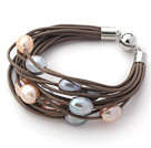 Multi Strands 11-12mm Multi Color Freshwater Pearl Brown Leather Bracelet with Magnetic Clasp