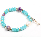 7.5 inches cute colored glaze and cabbage beads bracelet under $ 40