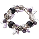 Vintage Style Heart Shape Clear Crystal Purple Agate Amethyst Tibet Silver Accessory Charm Bracelet With Toggle Clasp
